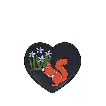 Il Lakes Red Squirrel Leather Pocket Mirror in Marina