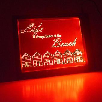 Strandhütten und Zitat Farbwechsel RC LED Spiegel LightFrame