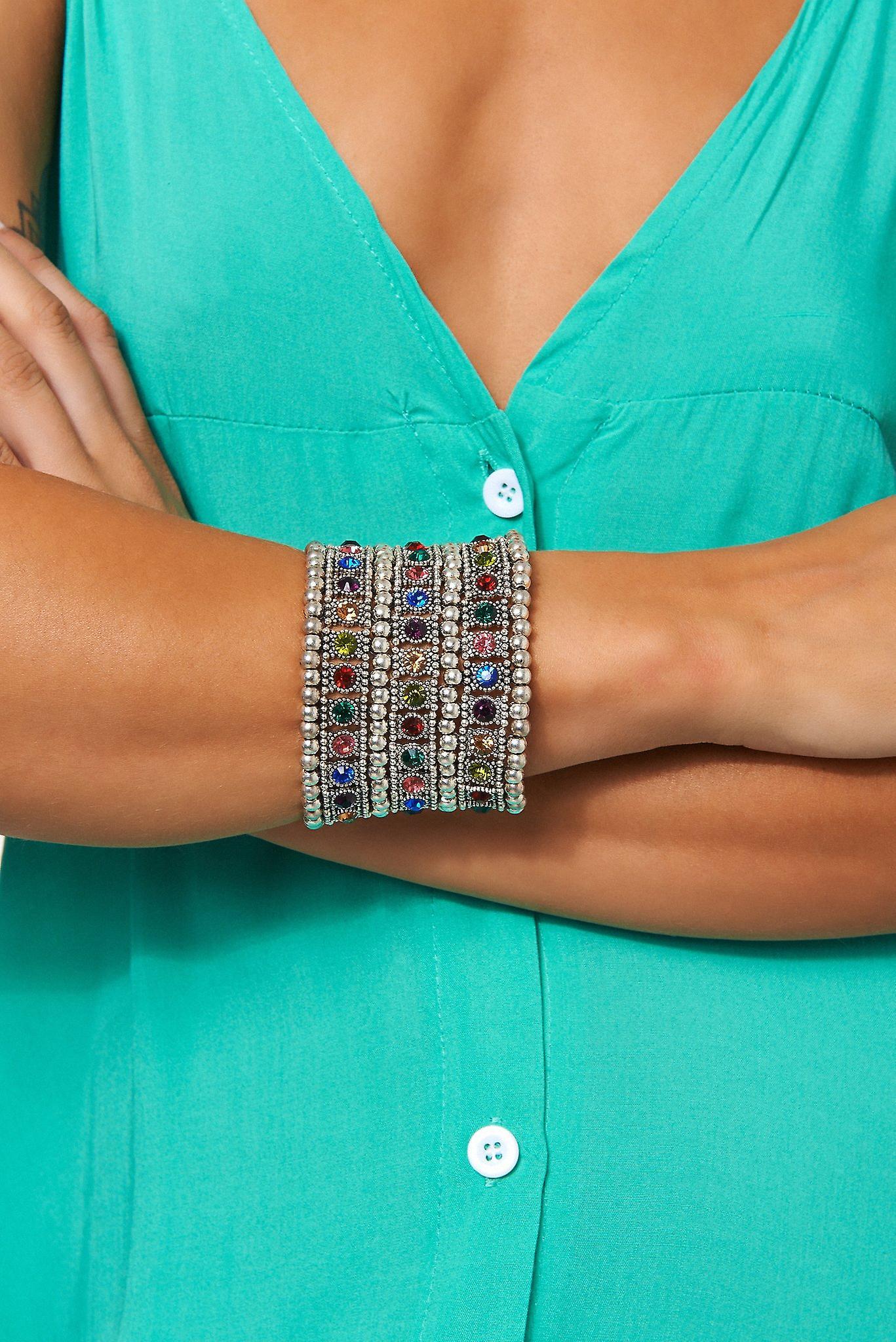 Ellie Wide Cuff Silver Embellished Bracelet