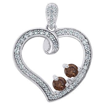 925 Sterling Silber Womens Runde CZ Zirkonia simuliert Diamant 2 zwei braune Stein Liebe Herz Mode Charme Anhänger