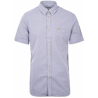 Lacoste Lacoste Regular Fitting Short-Sleeved Navy Check Shirt