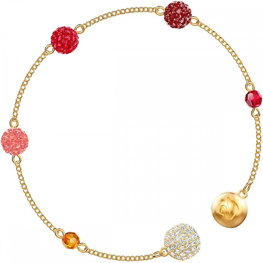 Swarovski Remix Gold Tone Plated & Red Crystal Pop Strand Bracelet