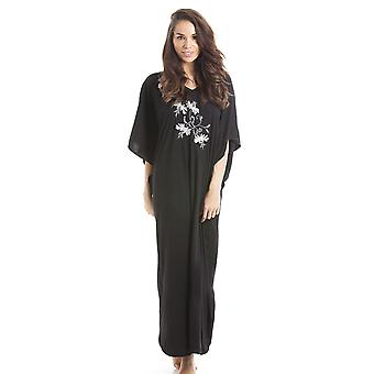 Camille Camille Womens Embroidered Long Length Black Kaftan