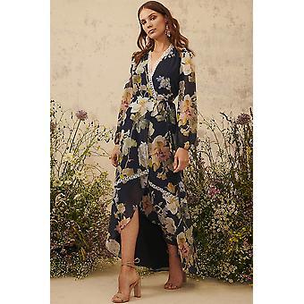 Hope and Ivy Long Sleeved Navy Floral Print V Neck Dress