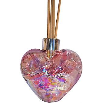Heart Shaped Reed Diffuser Violet & Pink by Amelia Art Glass