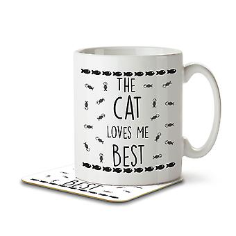 The Cat Loves Me Best - Mug and Coaster