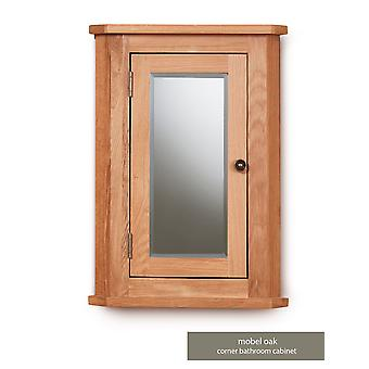 Baumhaus Mobel Oak Bathroom Collection Solid Oak Mirrored Corner Wall Cabinet