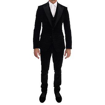 Dolce & Gabbana Black Velvet Slim Kwiatowy haftowany garnitur