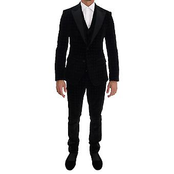 Dolce & Gabbana Zwart Fluweel Slim Bloemen geborduurd pak