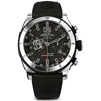 Armand watch nicolet s05 a714agn-gr-gg4710n automatic chronograph watch for Men Analog Quartz Watch with A714AGN-GR-GG4710N Rubber Bracelet