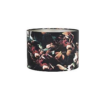 Ombre de cylindre de lumière et vivant 35x35x30cm VELOURS Hydrangea Noir