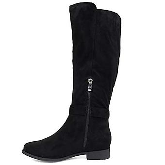 Brinley Co. Comfort Womens Classic Riding Boot Black, 6.5 Extra Wide Calf US
