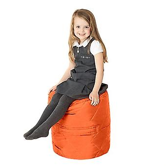 Fun!ture Quilted Round Kids Bean Bag | Outdoor Indoor Living Room Childrens Cylinder Beanbag Seating | Water Resistant | Vibrant Play Kids Colour Seat | High Quality & Comfy (Orange)