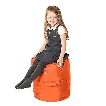 Fun!ture Gewatteerde Ronde Kids Bean Bag | Outdoor Indoor Woonkamer Childrens Cylinder Beanbag Zitplaatsen | Waterbestendig | Levendige Play Kids Kleurenstoel | Hoge kwaliteit en comfortabel (oranje)