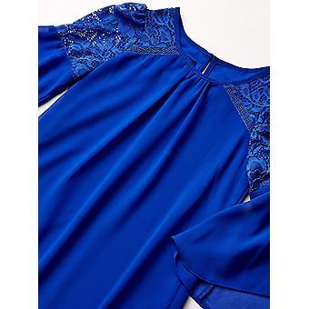Amy Byer Girls' Big Lace Detail Bell Sleeve A-Line Dress,, Neon Cobalt, Size 14