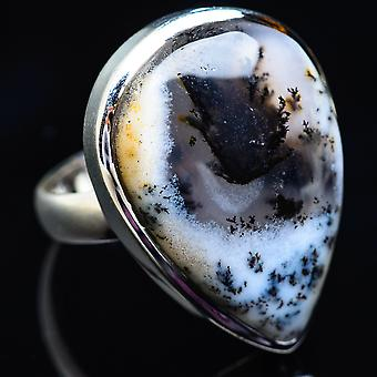 Large Dendritic Opal Ring Size 7.75 (925 Sterling Silver)  - Handmade Boho Vintage Jewelry RING3948