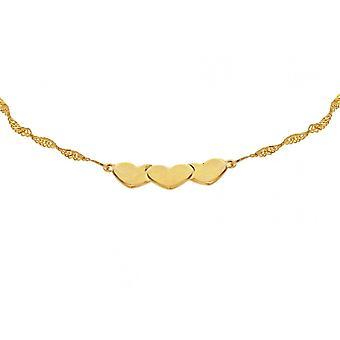 Eeuwigheid 9ct Gold Singapore fijn 3 hart armband