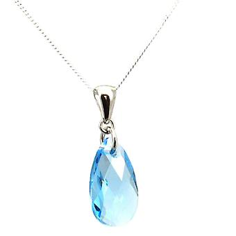 TOC Aqua Pear Drop Pendant made with Swarovski Crystals - Sterling Silver