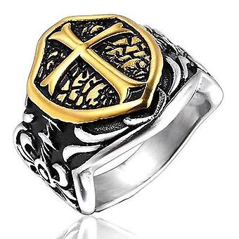 Knights templar golden cross shield motif ring