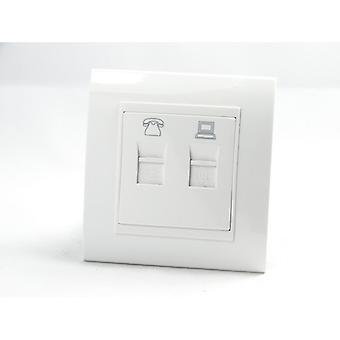 I LumoS AS Luxury White Plastic Arc Single Telephone + Internet Socket