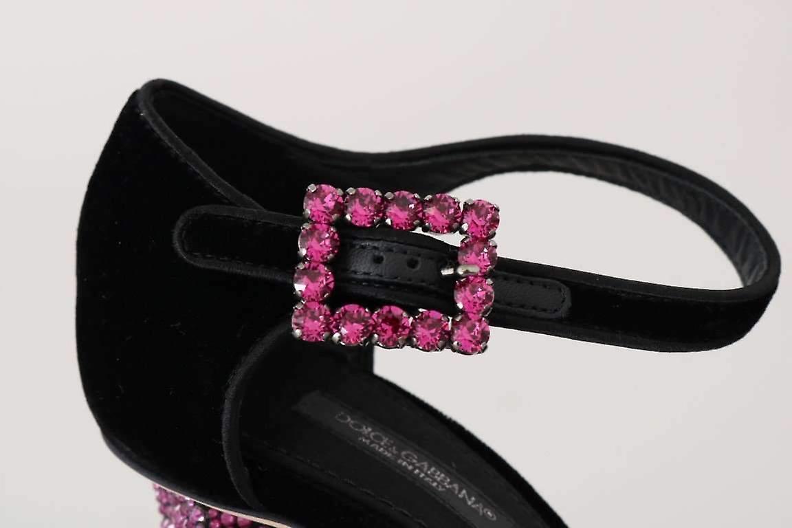 Dolce & Gabbana Black Velvet Pink Crystal Mary Janes Shoes -- LA42645744