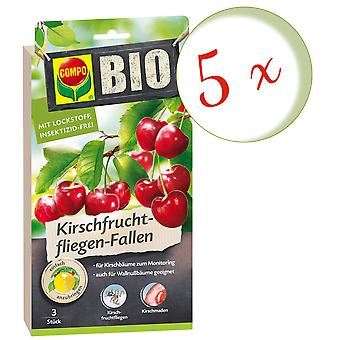 Sparset: 5 x COMPO BIO Cherry Fruit Fly Traps, 3 pieces