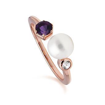 Anillo abierto de perlas modernas, amatista y topacio en oro rosa plateado plata de ley 270R058804925