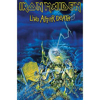 Iron Maiden Poster Textile Flag Live After Death Official New Blue 70cm x 106cm