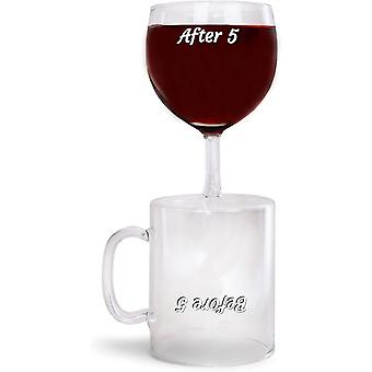 Kaffeeglas und Weinglas in 1 Scherzartikel Before 5 After 5 Scherzglas 250 ml