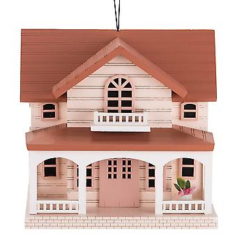 Deluxe Handcrafted Outdoor Wooden Birdhouse, Bird-Friendly Perch (Ocean Bungalow Red Roof)