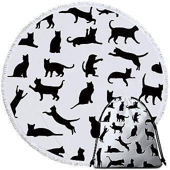 Cats Silhouettes Beach Towel