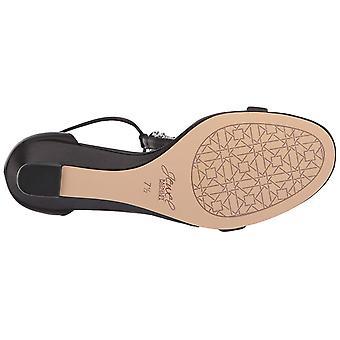 Jewel Badgley Mischka Women's DARRELL Sandal, black satin, 9 M US