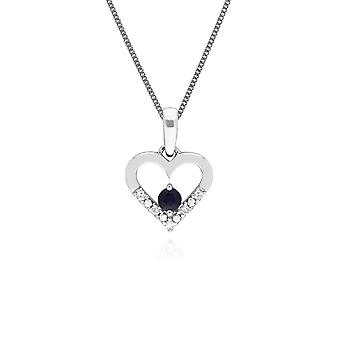 Classic Round Sapphire & Diamond Love Heart Shaped Pendant Necklace in 9ct White Gold 162P0219029
