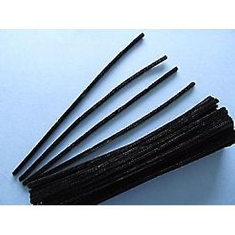 100 nettoyeurs à tuyaux noir de 6 mm | Tiges de Chenille