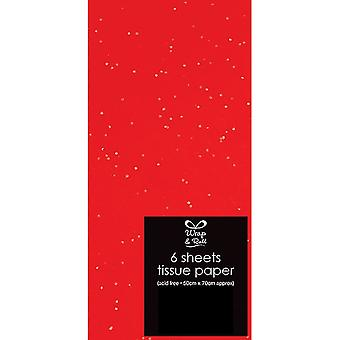 LAST FEW - 6 Red Sheets of Glitter Tissue Paper for Crafts & Gift Wrapping