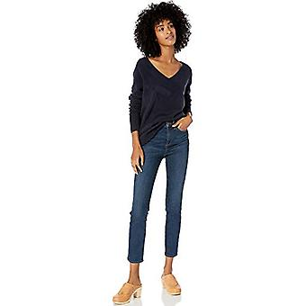 Brand - Goodthreads Women's Mid-Gauge Stretch V-Neck Sweater, Navy,Small