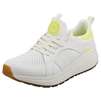 Skechers Bobs Sparrow 2.0 Metro Daisy Womens Fashion Trainers in White Yellow