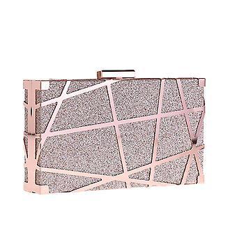 يانغفان أنيقة المرأة معدنية شبكة صغيرة حقيبة مخلب مربع