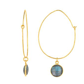 ADEN Gold Plated Faceted Labradorite Round Shape Earrings (id 4580)