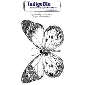 IndigoBlu Gran mariposa montada A6 sello de goma