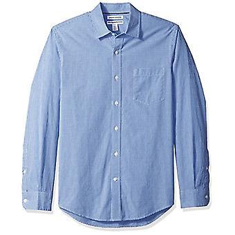 Essentials Men & apos;s Slim-Fit Long-sleeve عارضة قميص بوبلين, الأزرق ميني-G ...