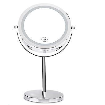 forstørrelsesglass desktop makeup speil med led lys - kosmetisk speil