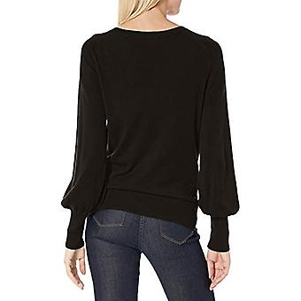 Lark & Ro Women's Long Balloon Sleeve V Neck Sweater, BLACK, L