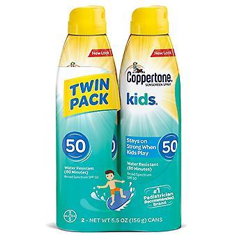 Coppertone kids sunscreen continuous spray, spf 50, 5.5 oz, 2 ea *