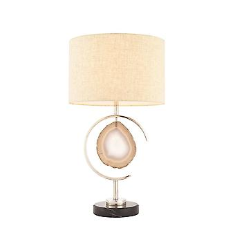 1 Light Table Lamp Polished Nickel, Agate Stone, E27