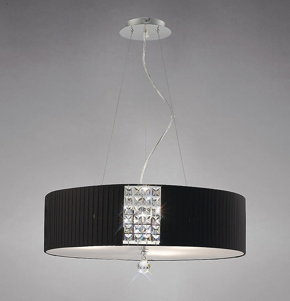 Ceiling Pendant Round with Black Shade 5 Light Polished Chrome, Crystal