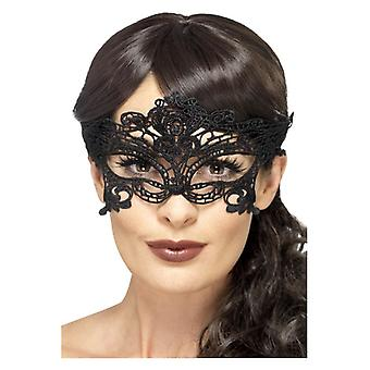 Womens Svart Broderade Spets Filigree Hjärta Eyemask Fancy Dress Tillbehör