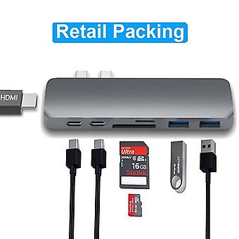 Usb-c Dock To Hdmi Thunderbolt Adapter Hub With Pd Power Tf Sd Card Reader