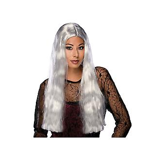Womens Witch Long Grey Wig Vampire Halloween Fancy Dress Costume Accessory