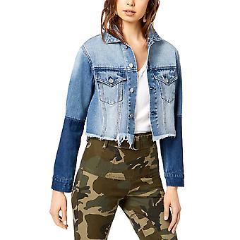 Kendall + Kylie | Tweekleurige cropped denim jas